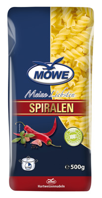 """Produktbild Möwe-Teigwaren """"Meine Liebsten ..."""" Spiralen 500 g"""